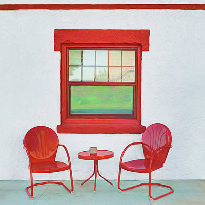 Window - Chairs - Table Poster by Nikolyn McDonald