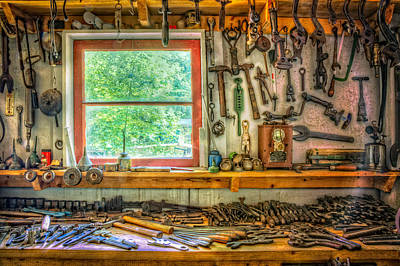 Window Over The Workbench Poster by Debra and Dave Vanderlaan
