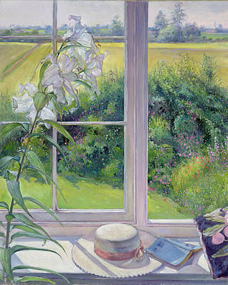 Window Seat And Lily Poster by Timothy Easton