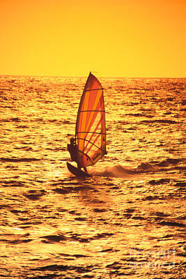 Windsurfer At Sunset Poster by Dave Fleetham - Printscapes