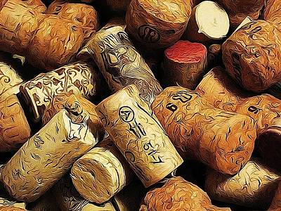 Wine And Champagme Corks Poster by Cathie Tyler