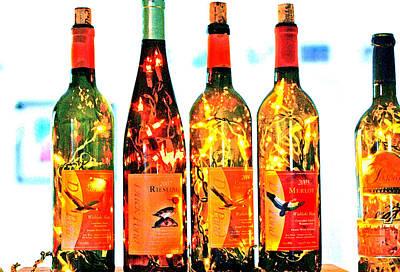 Wine Bottle Lights Poster by Margaret Hood