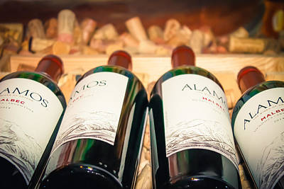 Wine Bottles Poster by Colleen Kammerer