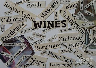 Wine Collage Poster by Denise Fleming