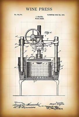 Wine Press Patent  1903 Poster by Daniel Hagerman