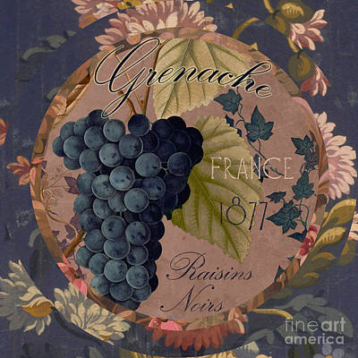 Wines Of France Grenache Poster by Mindy Sommers