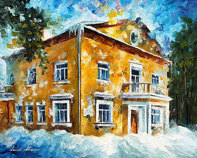 Winter At Home - Palette Knife Oil Painting On Canvas By Leonid Afremov Poster by Leonid Afremov