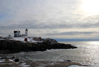 Winter At Nubble Lighthouse Poster by Becca Brann