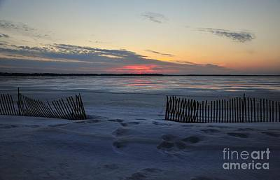 Winter Beach At Dusk Poster by Terri Gostola