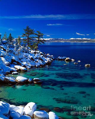 Winter Calm Lake Tahoe Poster by Vance Fox
