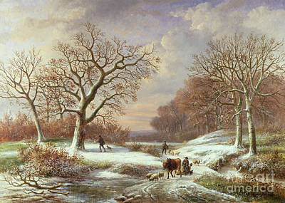 Winter Landscape Poster by Louis Verboeckhoven
