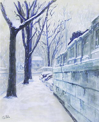 Winter Landscape Washington Dc Original Painting Sketch Poster by G Linsenmayer
