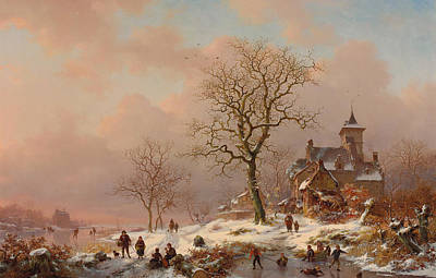 Winter Landscape With Figures Playing On The Ice Poster by Frederick Marianus Kruseman