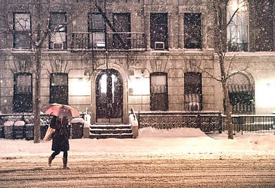 Winter - New York City - Snow Falling Poster by Vivienne Gucwa