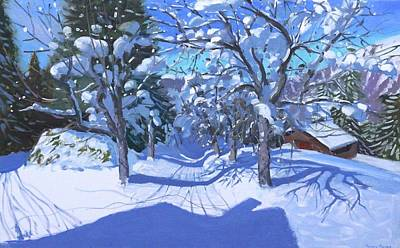 Winter Orchard  Morzine Poster by Andrew Macara