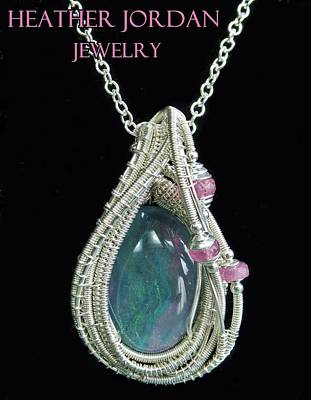 Wire-wrapped Australian Opal Pendant In Sterling Silver With Pink Sapphires Abopss2 Poster by Heather Jordan