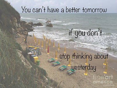 Wisdom Quote -tomorrow Yesterday Poster by Italian Art
