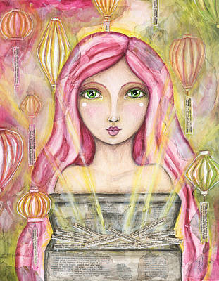 Wisdom Treasure Chest Girl Portrait Mixed Media Poster by Lori Treleaven