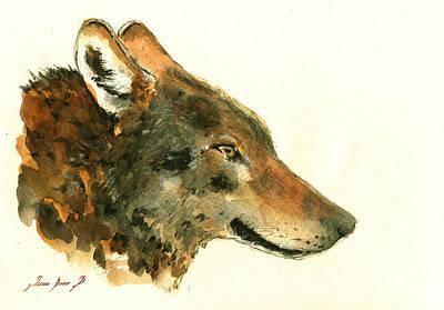 Wolf Portrait Poster by Juan  Bosco
