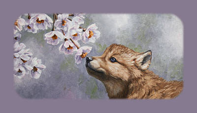 Wolf Pup And Blossoms Iphone Case Poster by Crista Forest