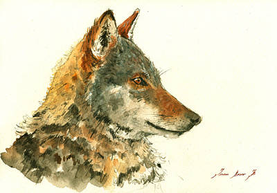 Wolf Watercolor Poster by Juan  Bosco