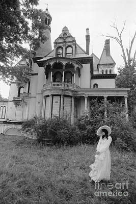 Woman And Abandoned Victorian House Poster by H. Armstrong Roberts/ClassicStock