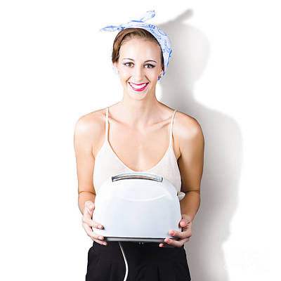 Woman Holding Toaster Poster by Jorgo Photography - Wall Art Gallery