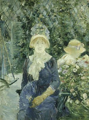 Woman In A Garden Poster by Berthe Morisot