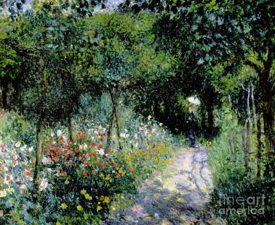 Woman In A Garden Poster by Pierre Auguste Renoir