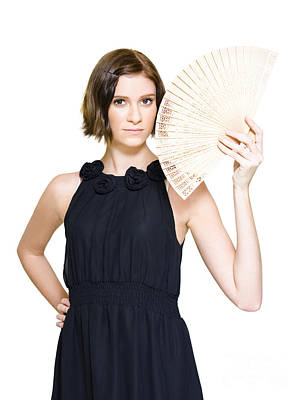 Woman In Formal Dress Holding Oriental Fan Poster by Jorgo Photography - Wall Art Gallery