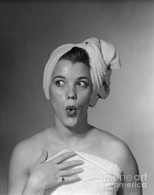 Woman In Towel Looking To The Side Poster by Debrocke/ClassicStock