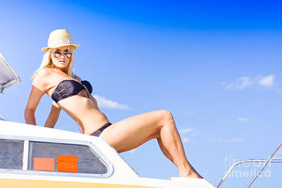 Woman On Boat Poster by Jorgo Photography - Wall Art Gallery