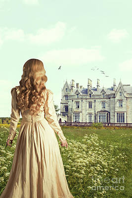 Woman Overlooking Mansion Poster by Amanda Elwell