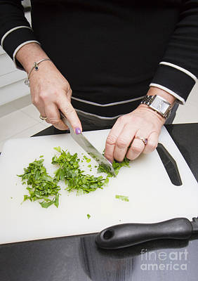 Woman Preparing Parsley Poster by Jorgo Photography - Wall Art Gallery