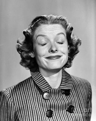 Woman Smiling With Eyes Closed Poster by Debrocke/ClassicStock