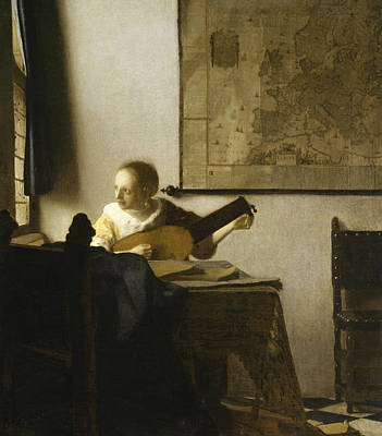 Woman With A Lute Near A Window Poster by Jan Vermeer