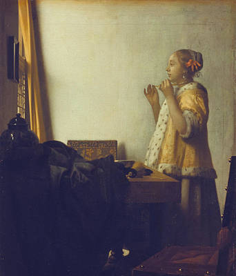 Woman With A Pearl Necklace Poster by Jan Vermeer