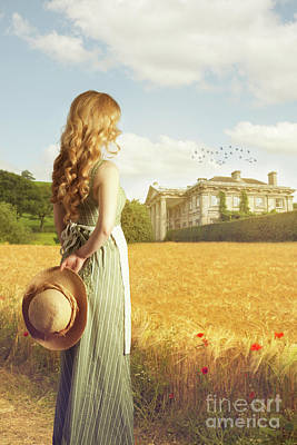 Woman With Straw Hat Poster by Amanda Elwell