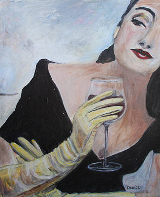 Woman With Wine Poster by Denice Palanuk Wilson