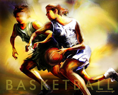 Women In Sports - Basketball Poster by Mike Massengale