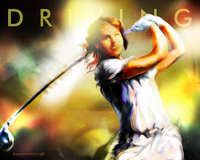 Women In Sports - Golf Poster by Mike Massengale