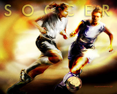 Women In Sports - Soccer Poster by Mike Massengale