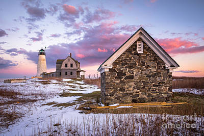 Wood Island Lighthouse In Winter Poster by Benjamin Williamson