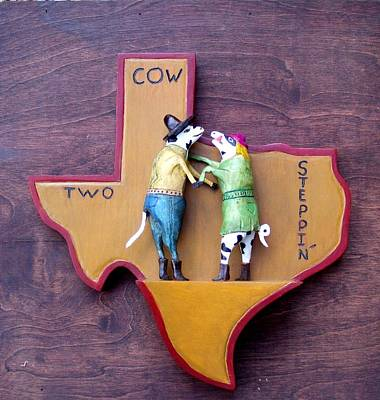 Woodcrafted 2 Cow Steppin' Poster by Michael Pasko
