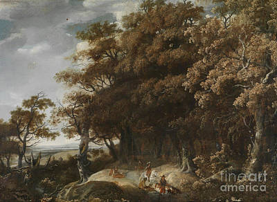 Wooded Landscape With Falconry Poster by January looting
