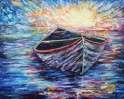 Wooden Boat At Sunrise  Poster by OLenaArt Lena Owens