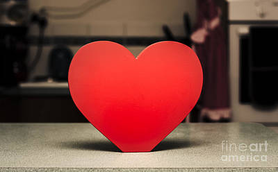 Wooden Heart Shape Chopping Block On Kitchen Bench Poster by Jorgo Photography - Wall Art Gallery