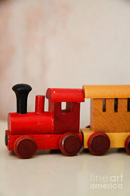 Wooden Toy Train Poster by Jacqueline Moore