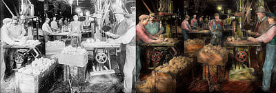 Woodworking - Toy - The Toy Makers 1914 - Side By Side Poster by Mike Savad