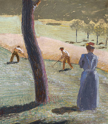 Workers In A Field At Kandern Poster by August Macke